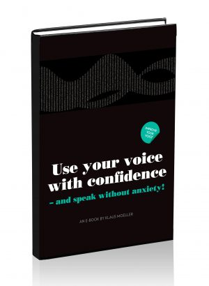Public Speaking - Conquer performance anxiety - E-book cover - Voice Coach Klaus Møller